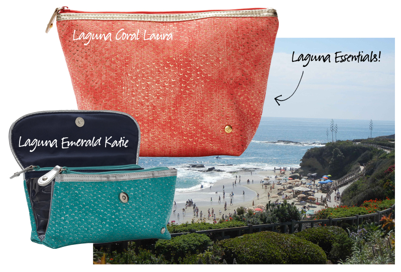 Laguna Beach, Montage, Stephanie Johnson, Laguna Coral Laura Large Trapezoid and Katie Turq Folding Cosmetic copy